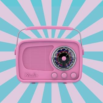 Różowy vintage radio na różowym i niebieskim tle vintage star shape. renderowanie 3d