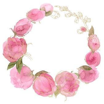 Różowy wieniec kwiatowy akwarela róż.