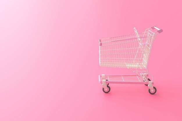 Różowy wózek na zakupy