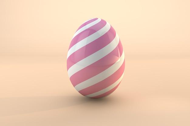 Różowy wzór jajko wielkanocne na białym tle na pastelowe tło. renderowanie 3d pliku psd przezroczystym tłem