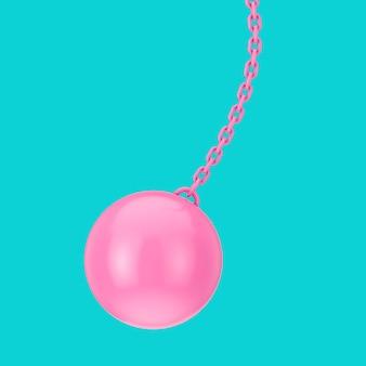 Różowy zbliżenie wrecking ball w stylu bichromii na niebieskim tle. renderowanie 3d