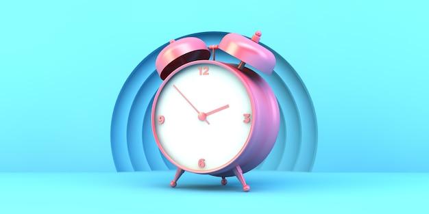 Różowy zegar na niebieskim tle