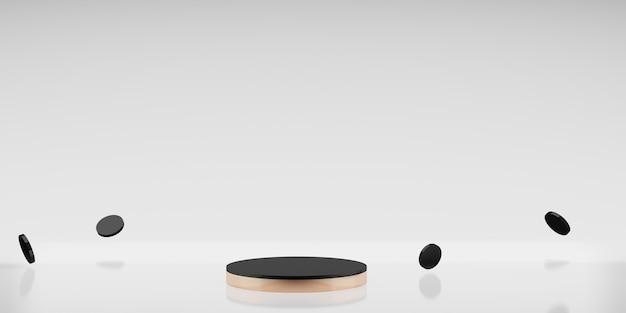 Różowy złoty stojak na produkty czarny cięty biały tło minimalistyczny styl ilustracja 3d