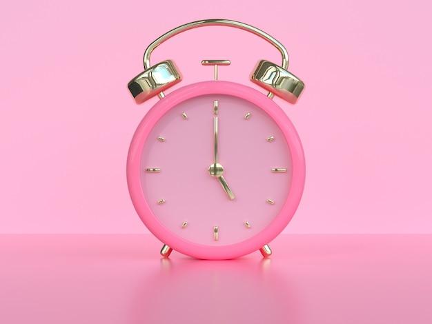 Różowy złoty zegar / alarm renderowania 3d