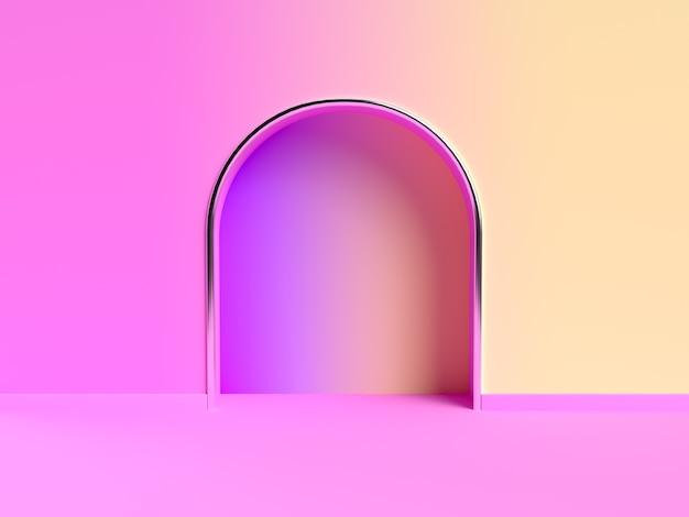 Różowy żółty ściana gradientu streszczenie 3d rendering sceny
