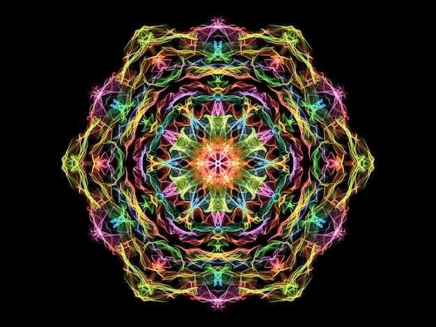 Różowy, żółty, zielony i niebieski abstrakcyjny kwiat mandali płomienia, neon ozdobny kwiatowy wzór sześciokątny na czarno