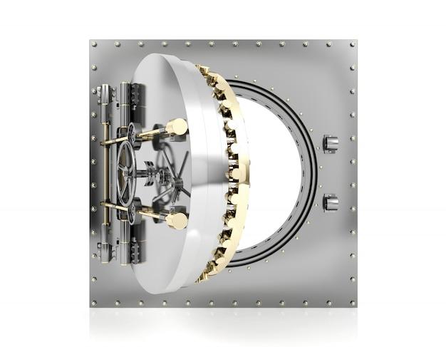 Rozpieczętowany bank krypty drzwi z pustym białym tłem