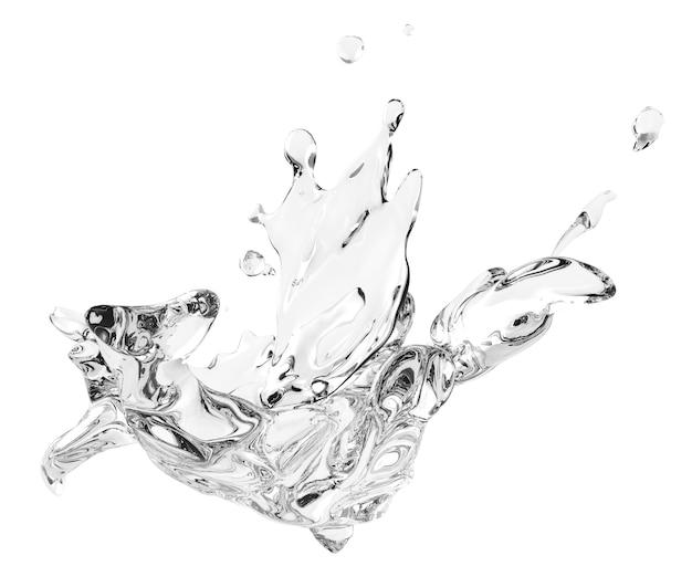 Rozpryskiwania i wirowania płynna woda do zastosowań projektowych na białym tle w renderowaniu 3d