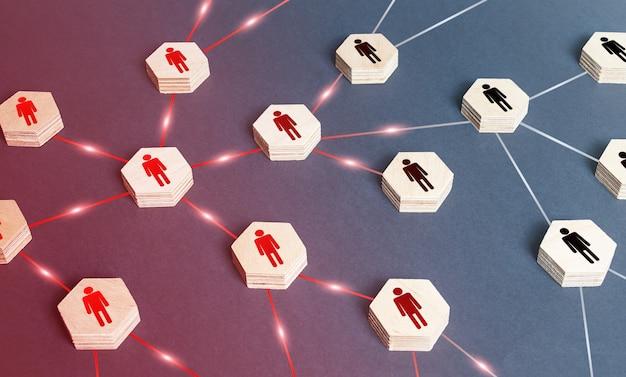 Rozprzestrzenia infekcję wirusową wśród ludzi w sieci. zniszczenie struktury