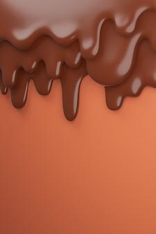 Rozpuszczona czekolada mleczna brązowa spływa w dół, renderowanie 3d