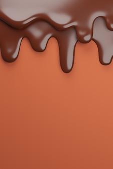 Rozpuszczona mleczna czekolada spływa w dół,