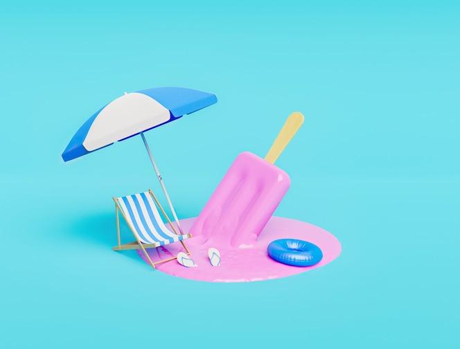 Rozpuszczone lody truskawkowe z akcesoriami plażowymi