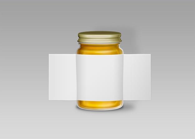 Rozszerzona etykieta słoika na białym tle