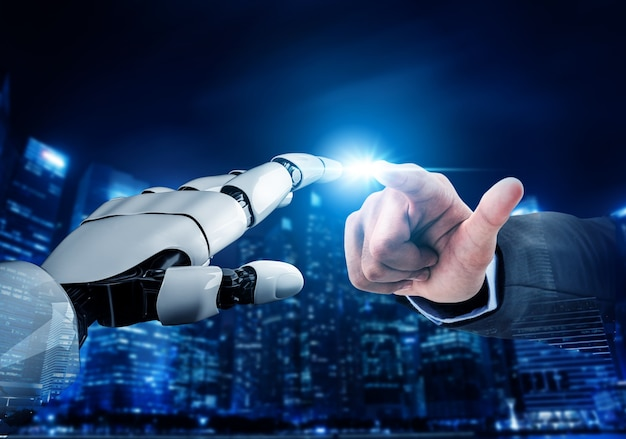 Rozwój futurystycznej technologii robotów, sztucznej inteligencji ai i koncepcji uczenia maszynowego