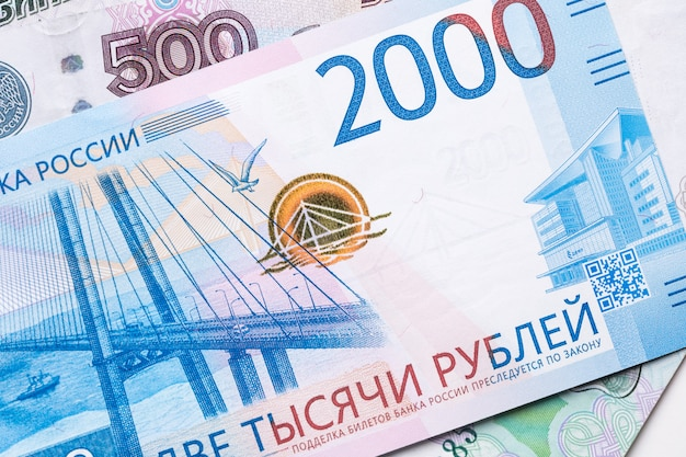 Rubel rosyjski rosyjski waluty zbliżenie w postaci tekstury.