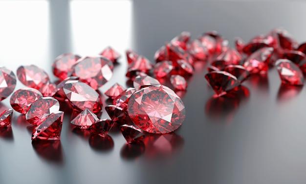 Rubinowa klejnotu diamentu grupa umieszczająca na ciemnym tła 3d renderingu.