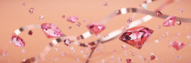 Ruby gem diamond grupa spadające tło nieostrość bokeh renderowania 3d