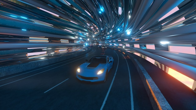 Ruch samochodów po futurystycznym moście ze światłowodem