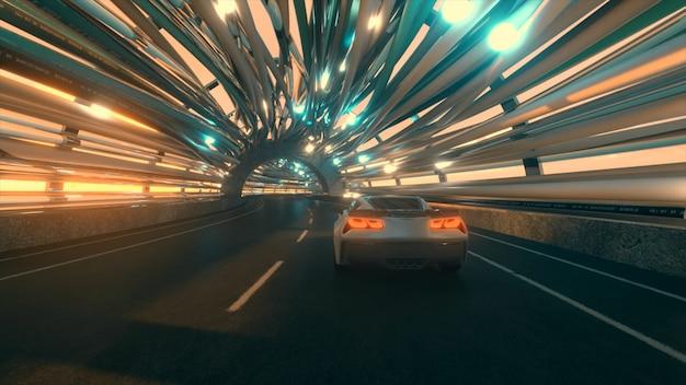 Ruch samochodu po futurystycznym moście ze światłowodem