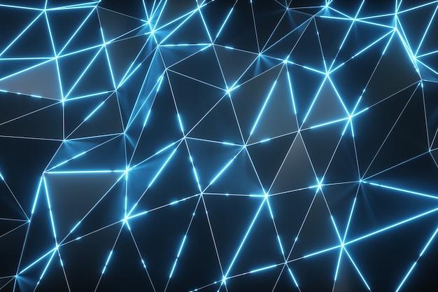 Ruch streszczenie tło. ciemna, falująca powierzchnia low-poly ze świecącym niebieskim światłem. 3d ilustracji