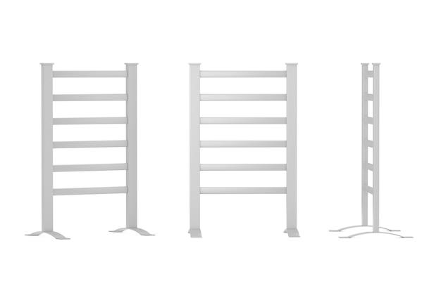 Ruchomy nowoczesny grzejnik suszarka do ręczników łazienka na białym tle. renderowanie 3d