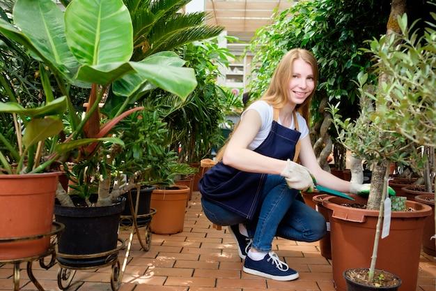 Rudzielec młodej kobiety pracownik w rośliny rynku szklarni hoeing rośliny i ono uśmiecha się