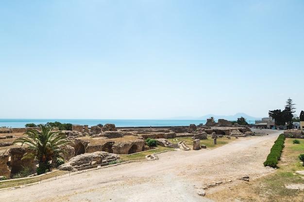 Ruiny kartaginy, łaźnie antonina, kolumny i fragmenty murów