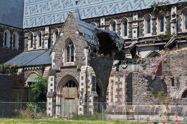 Ruiny katedry w christchurch, nowa zelandia