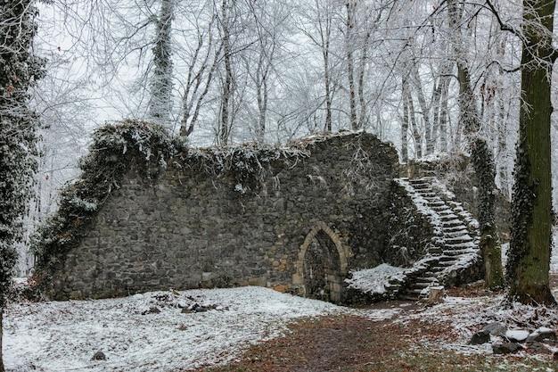 Ruiny średniowiecznego zamku w śniegu