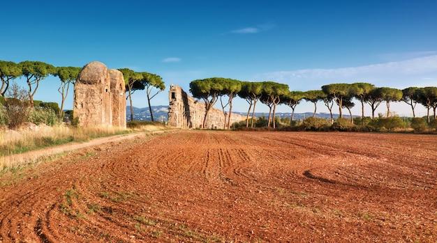 Ruiny starożytnego akweduktu na appia way w rzymie, włochy