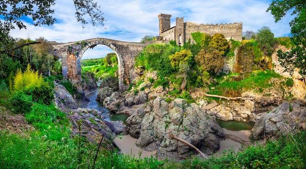 Ruiny starożytnego miasta etruskiego w vulci we włoszech, historyczne miejsca prowincji viterbo