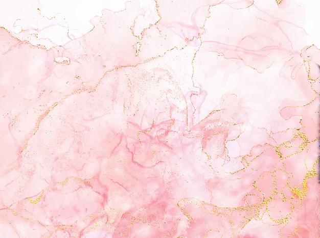 Rumieniec różowy akwarela malarstwo płynne karta projektowa różowe złoto marmurowa rama wiosenny ślub