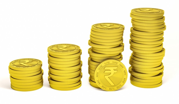 Rupia symbol znak na złotej monecie na białym tle
