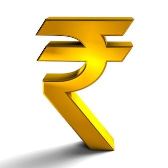 Rupia symbole waluty znak złoty kolor renderowania 3d na białym tle