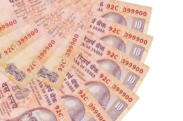 Rupie indyjskie rachunki r. na białej powierzchni