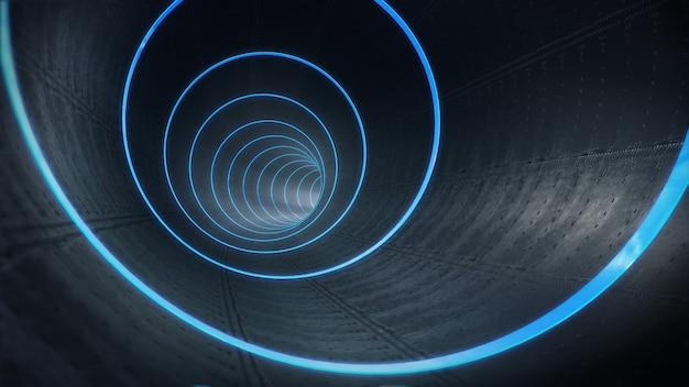 Rura, długi ciemny tunel z futurystycznym światłem. renderowanie 3d