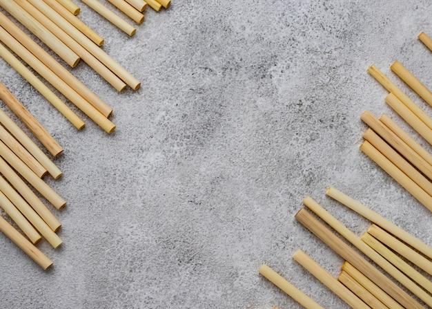 Rurki bambusowe do picia miejsca kopiowania widoku z góry