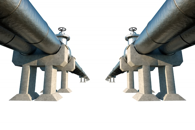 Rurociąg izolowany na białej ścianie, transportujący ropę i gaz. technologia, polityka, surowce, ekonomia. skopiuj miejsce 3d odpłacają się, 3d ilustracja.