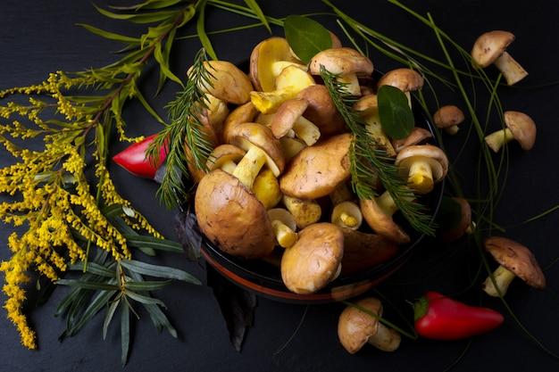 Rustykalna miska z grzybami leśnymi