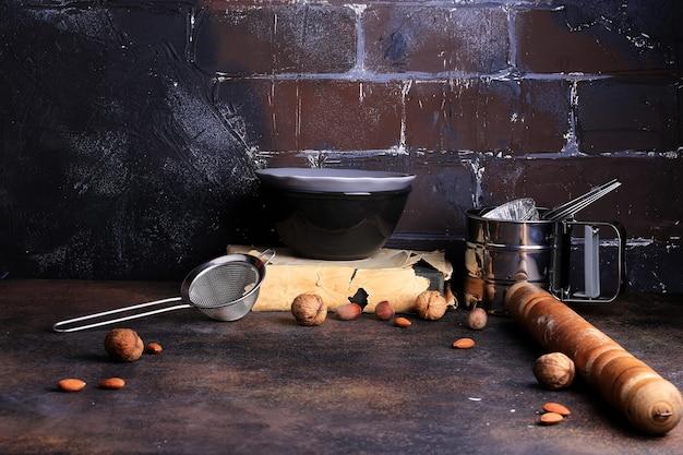 Rustykalne tło kuchenne z miejscem na tekst grunge shabby chic loft
