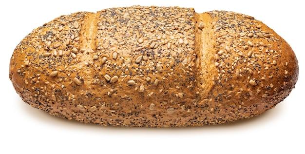 Rustykalny chleb wieloziarnisty (pszenny, żytni, słonecznikowy, lniany, makowy, sezamowy i jęczmienny). mistrz świata. samodzielnie na białym tle widok z boku.