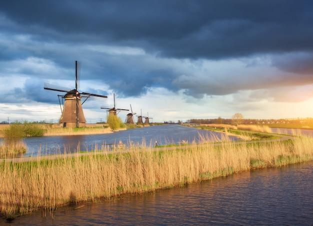 Rustykalny krajobraz z tradycyjnymi holenderskimi wiatrakami