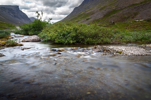 Rwący przepływ górskiej rzeki.