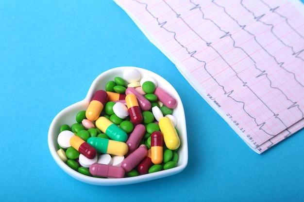 Rx prescriptionnd kolorowe asortyment pigułki i kapsuły na talerzu.