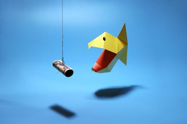 Ryba origami pirania dzioba na haku z przynętą dolara