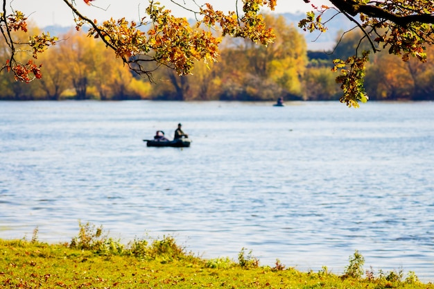 Rybak w łodzi na rzece, nad którą zwisały gałęzie z jesiennymi liśćmi