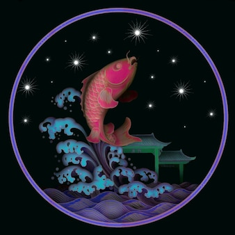 Ryby i gwiazdy. ilustracja 3d
