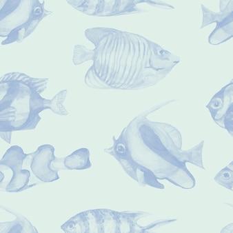 Ryby podwodne morze ocean koralowce akwarela ręcznie rysowane ilustracja akwarium ryby patern