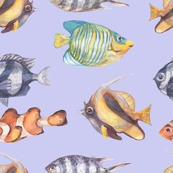 Ryby podwodne morze ocean koralowce algi muszle akwarela ręcznie rysowane dzika przyroda