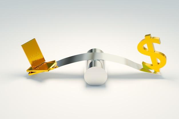 Rynek forex handlu złotem i symbolami dolara, renderowanie ilustracji 3d